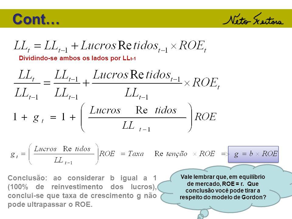 Dividindo-se ambos os lados por LL t-1 Conclusão: ao considerar b igual a 1 (100% de reinvestimento dos lucros), conclui-se que taxa de crescimento g