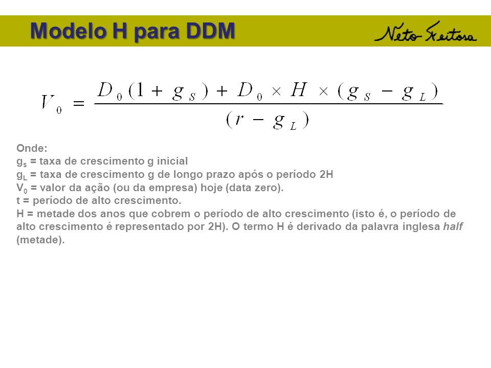 Modelo H para DDM Onde: g s = taxa de crescimento g inicial g L = taxa de crescimento g de longo prazo após o período 2H V 0 = valor da ação (ou da em