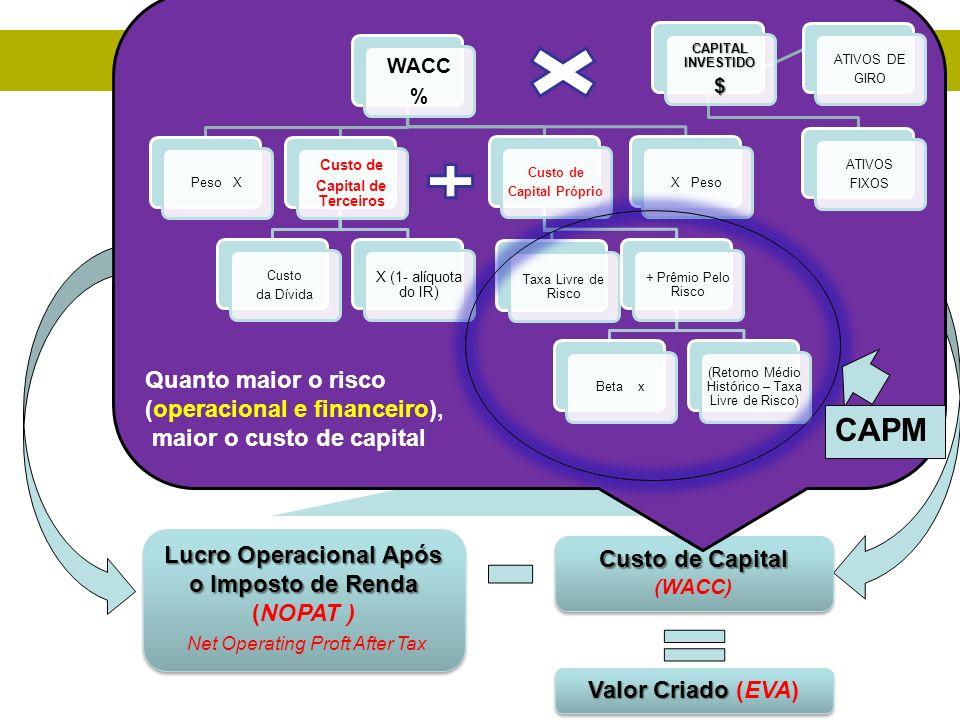 Capital Investido Geradores dos fluxos de caixa atuais (Ativos Fixos e de giro) (VACA LEITEIRA) Geradores de fluxos de caixa futuros ( ativos de cresc