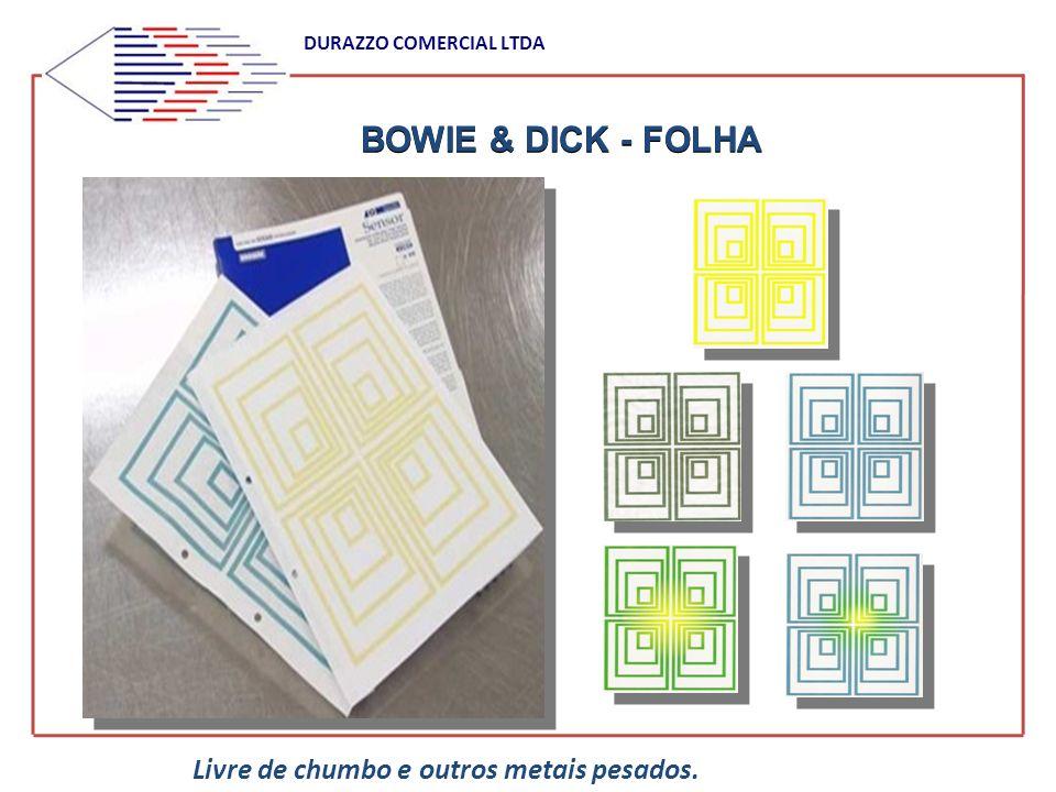 BOWIE & DICK - FOLHA DURAZZO COMERCIAL LTDA Livre de chumbo e outros metais pesados.