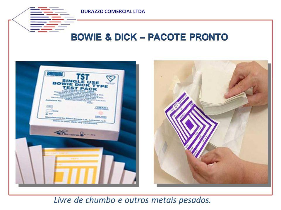 BOWIE & DICK – PACOTE PRONTO DURAZZO COMERCIAL LTDA Livre de chumbo e outros metais pesados.