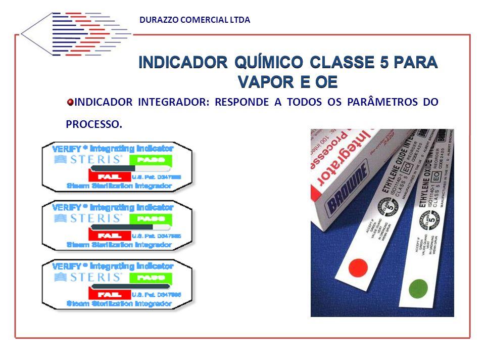 INDICADOR QUÍMICO CLASSE 5 PARA VAPOR E OE DURAZZO COMERCIAL LTDA INDICADOR INTEGRADOR: RESPONDE A TODOS OS PARÂMETROS DO PROCESSO.