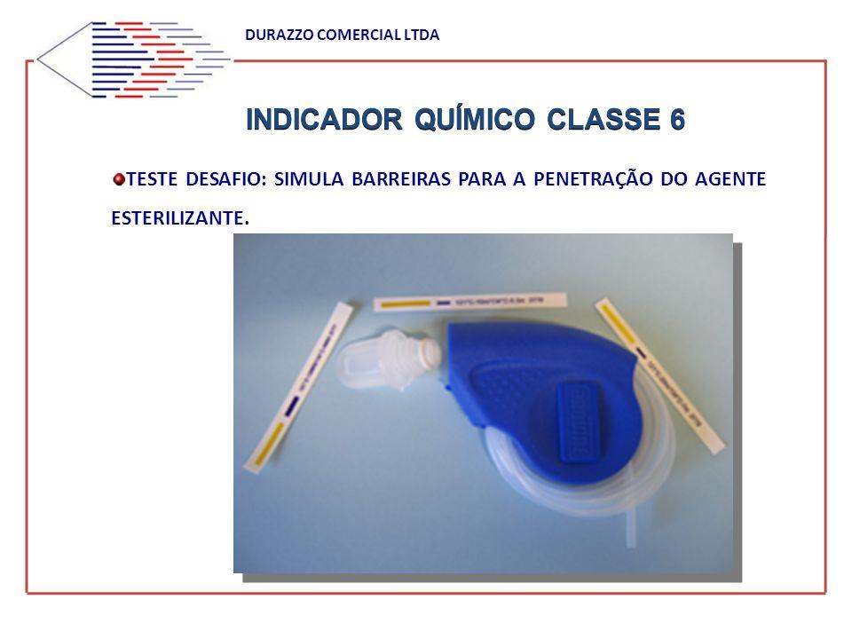 INDICADOR QUÍMICO CLASSE 6 DURAZZO COMERCIAL LTDA TESTE DESAFIO: SIMULA BARREIRAS PARA A PENETRAÇÃO DO AGENTE ESTERILIZANTE.