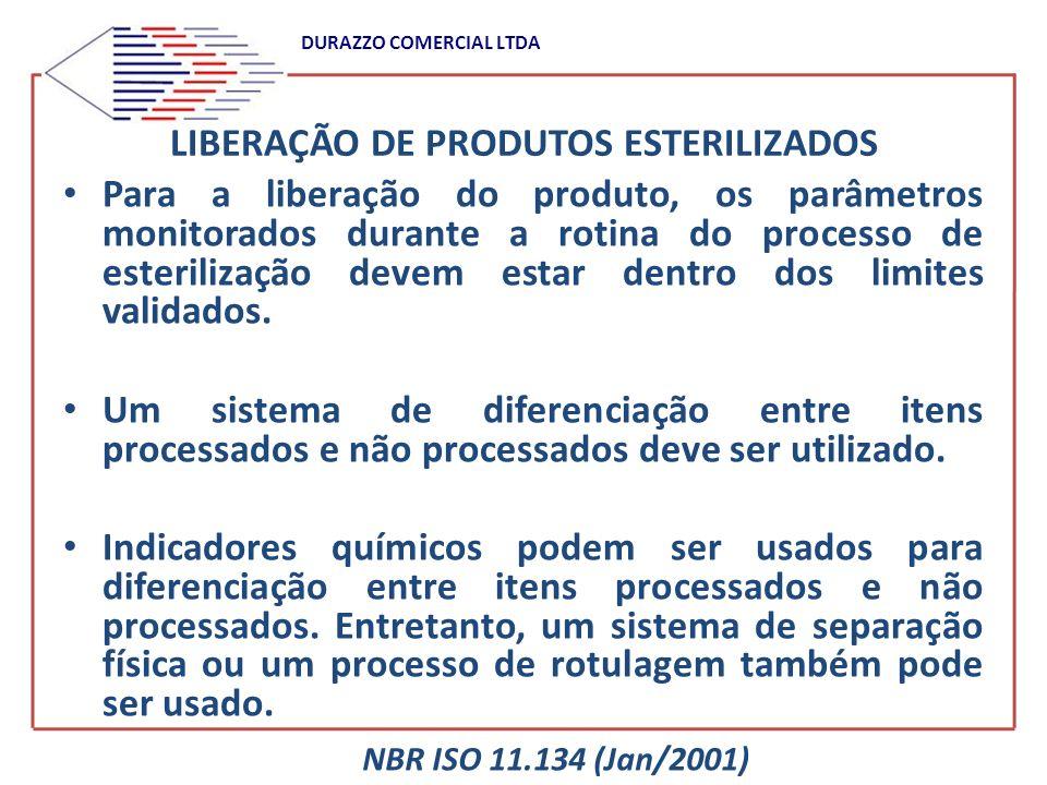 DURAZZO COMERCIAL LTDA LIBERAÇÃO DE PRODUTOS ESTERILIZADOS Para a liberação do produto, os parâmetros monitorados durante a rotina do processo de este