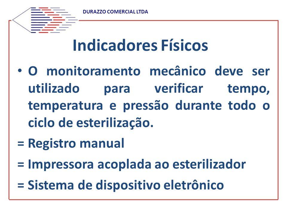 DURAZZO COMERCIAL LTDA Controle do processo de esterilização a vapor NBR ISO 11.134 (Jan/2001) Para cada ciclo, o registro deve conter os seguintes dados: A) data B) identificação do esterilizador C) identificação do ciclo D) identificação do operador e assinatura E) horário do início do ciclo (real) F) pressão da câmara durante todo o ciclo G) temperatura da câmara durante todo o ciclo H) duração dos parâmetros críticos do processo