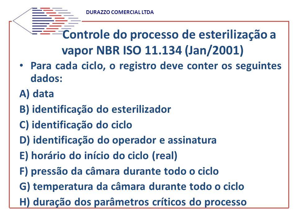 DURAZZO COMERCIAL LTDA Controle do processo de esterilização a vapor NBR ISO 11.134 (Jan/2001) Para cada ciclo, o registro deve conter os seguintes da