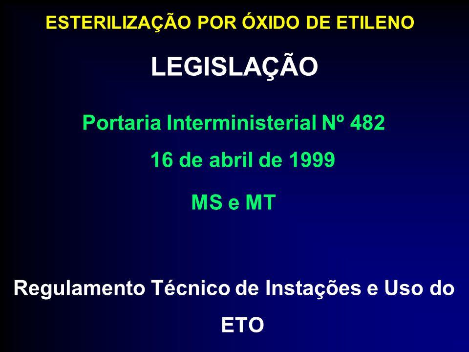 LEGISLAÇÃO ESTERILIZAÇÃO POR ÓXIDO DE ETILENO Portaria Interministerial Nº 482 16 de abril de 1999 MS e MT Regulamento Técnico de Instações e Uso do E