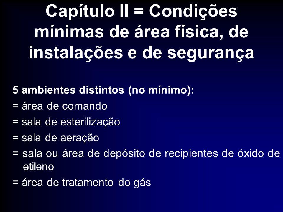 Capítulo II = Condições mínimas de área física, de instalações e de segurança 5 ambientes distintos (no mínimo): = área de comando = sala de esteriliz