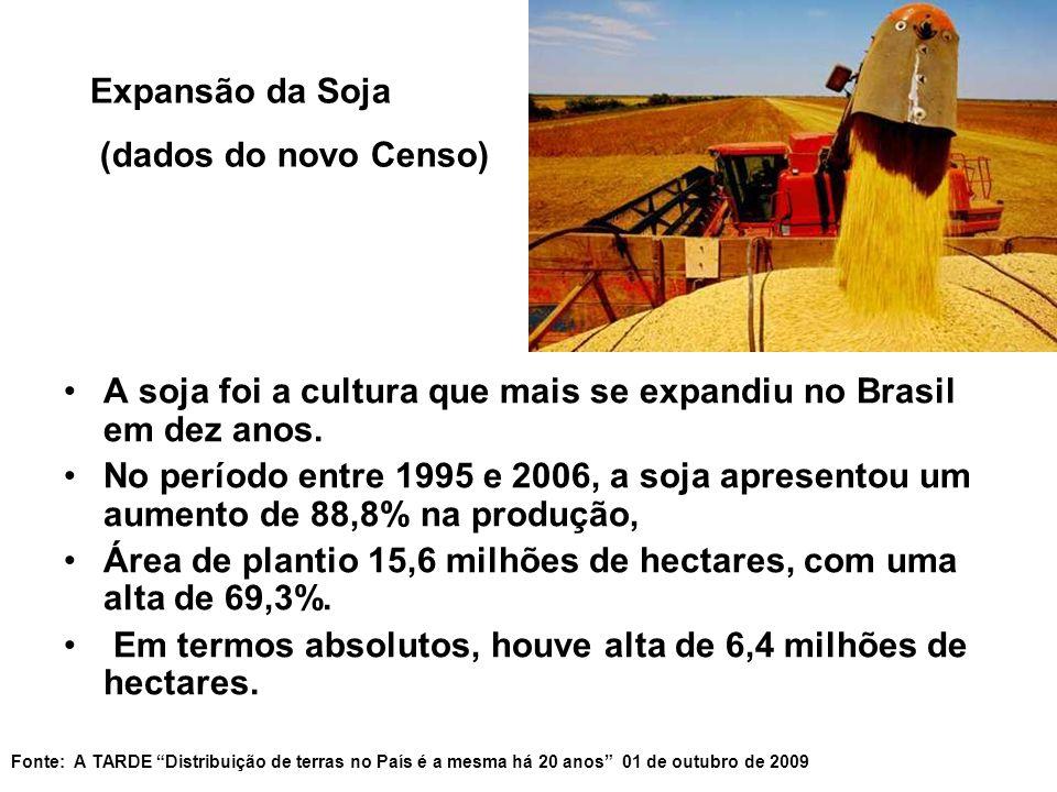 A soja foi a cultura que mais se expandiu no Brasil em dez anos. No período entre 1995 e 2006, a soja apresentou um aumento de 88,8% na produção, Área