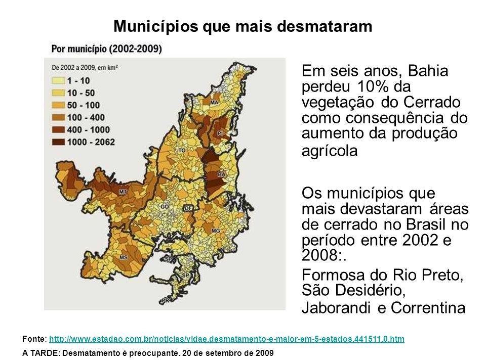 Municípios que mais desmataram Em seis anos, Bahia perdeu 10% da vegetação do Cerrado como consequência do aumento da produção agrícola Os municípios