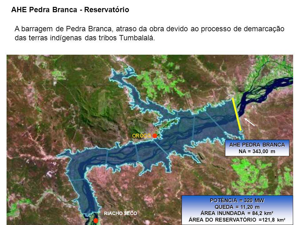 AHE PEDRA BRANCA NA = 343,00 m RIACHO SECO OROCÓ POTÊNCIA = 320 MW QUEDA = 11,20 m ÁREA INUNDADA = 84,2 km² ÁREA DO RESERVATÓRIO =121,8 km² AHE Pedra