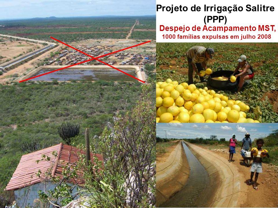 Projeto de Irrigação Salitre (PPP) Despejo de Acampamento MST, 1000 famílias expulsas em julho 2008 área total de 67.400 ha, sendo 34.000 ha irrigávei