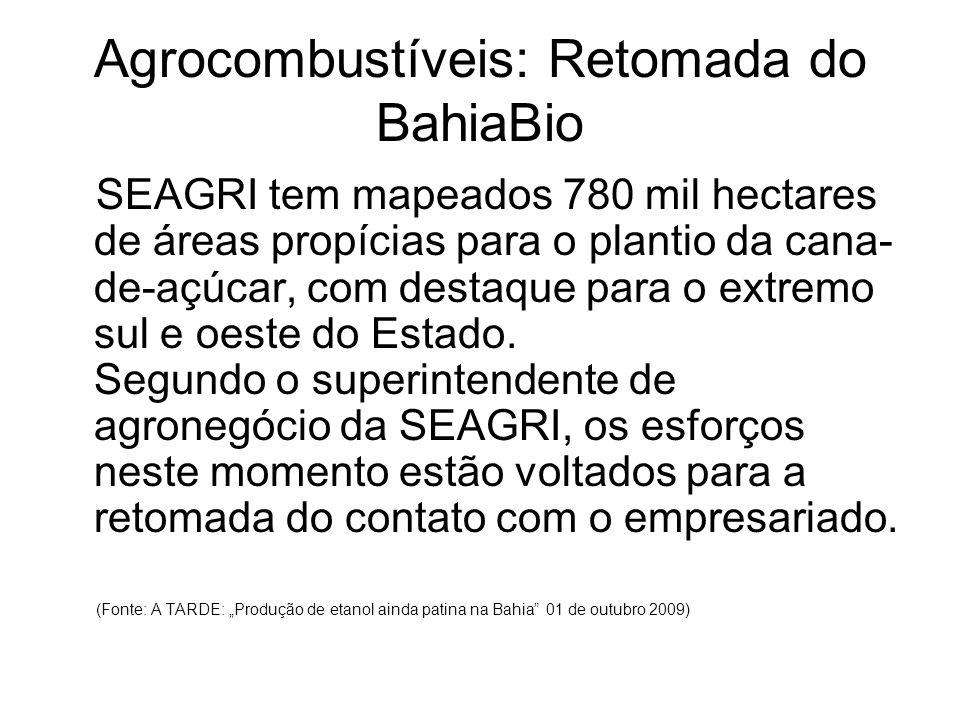 Agrocombustíveis: Retomada do BahiaBio SEAGRI tem mapeados 780 mil hectares de áreas propícias para o plantio da cana- de-açúcar, com destaque para o