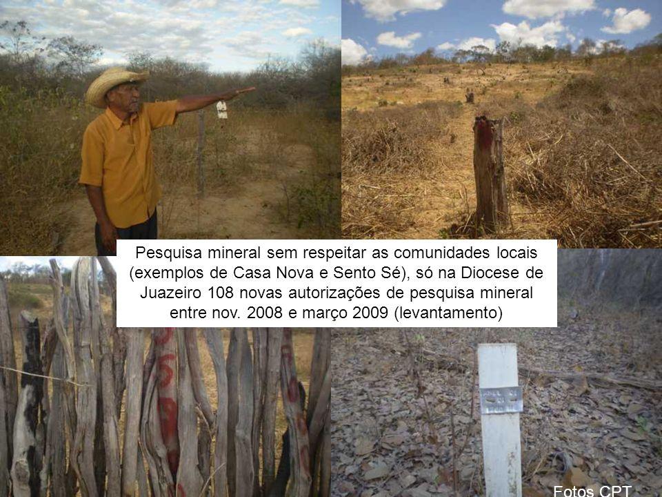Pesquisa mineral sem respeitar as comunidades locais (exemplos de Casa Nova e Sento Sé), só na Diocese de Juazeiro 108 novas autorizações de pesquisa