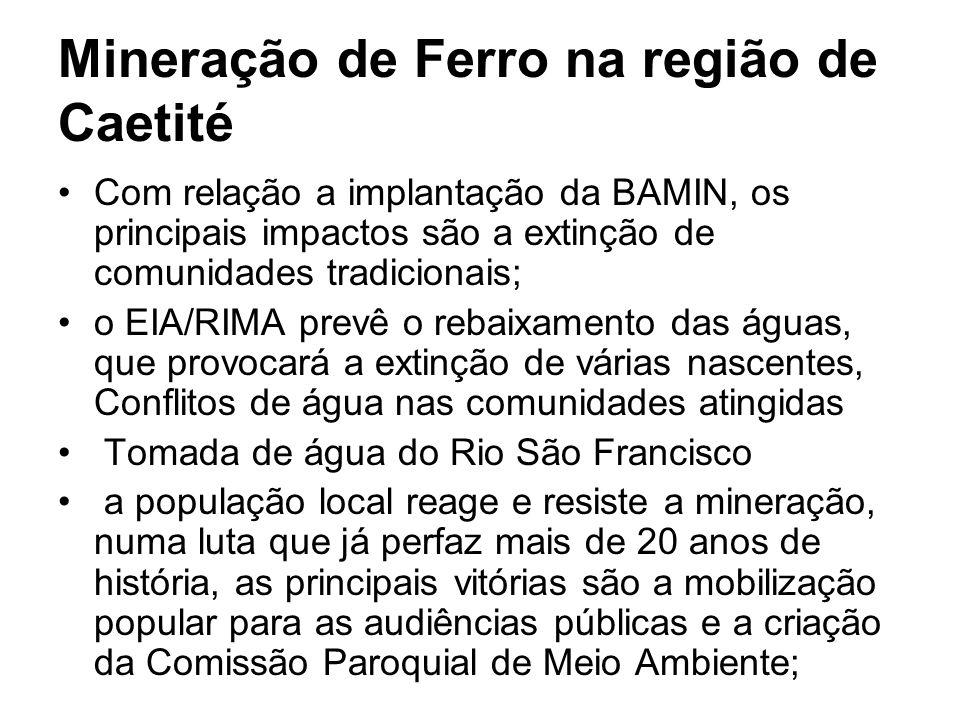 Com relação a implantação da BAMIN, os principais impactos são a extinção de comunidades tradicionais; o EIA/RIMA prevê o rebaixamento das águas, que
