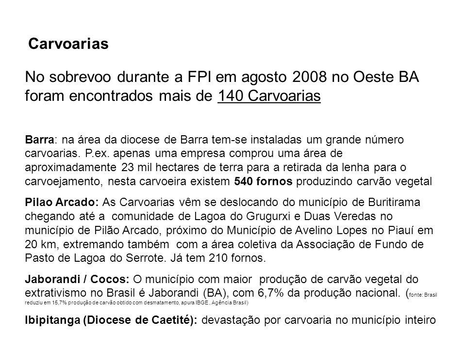 Barra: na área da diocese de Barra tem-se instaladas um grande número carvoarias. P.ex. apenas uma empresa comprou uma área de aproximadamente 23 mil