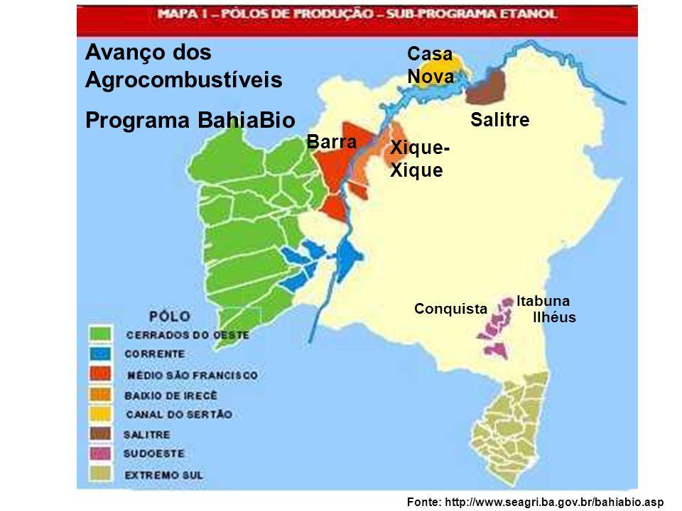 Barra Xique- Xique Casa Nova Salitre Conquista Avanço dos Agrocombustíveis Programa BahiaBio Itabuna Ilhéus Fonte: http://www.seagri.ba.gov.br/bahiabi