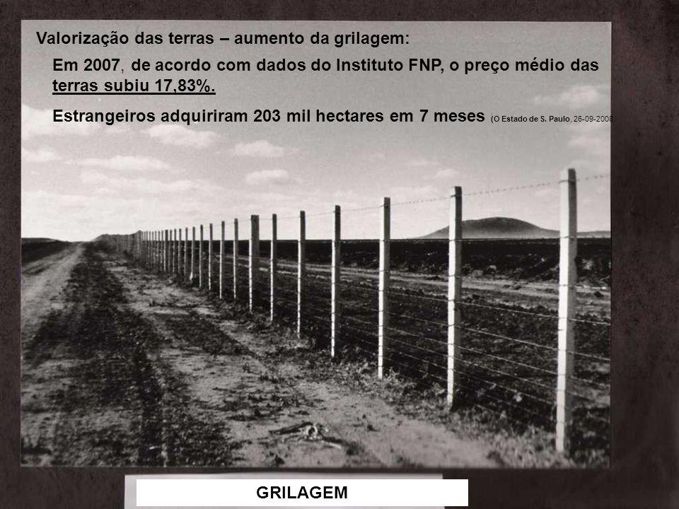 GRILAGEM Em 2007, de acordo com dados do Instituto FNP, o preço médio das terras subiu 17,83%. Estrangeiros adquiriram 203 mil hectares em 7 meses (O