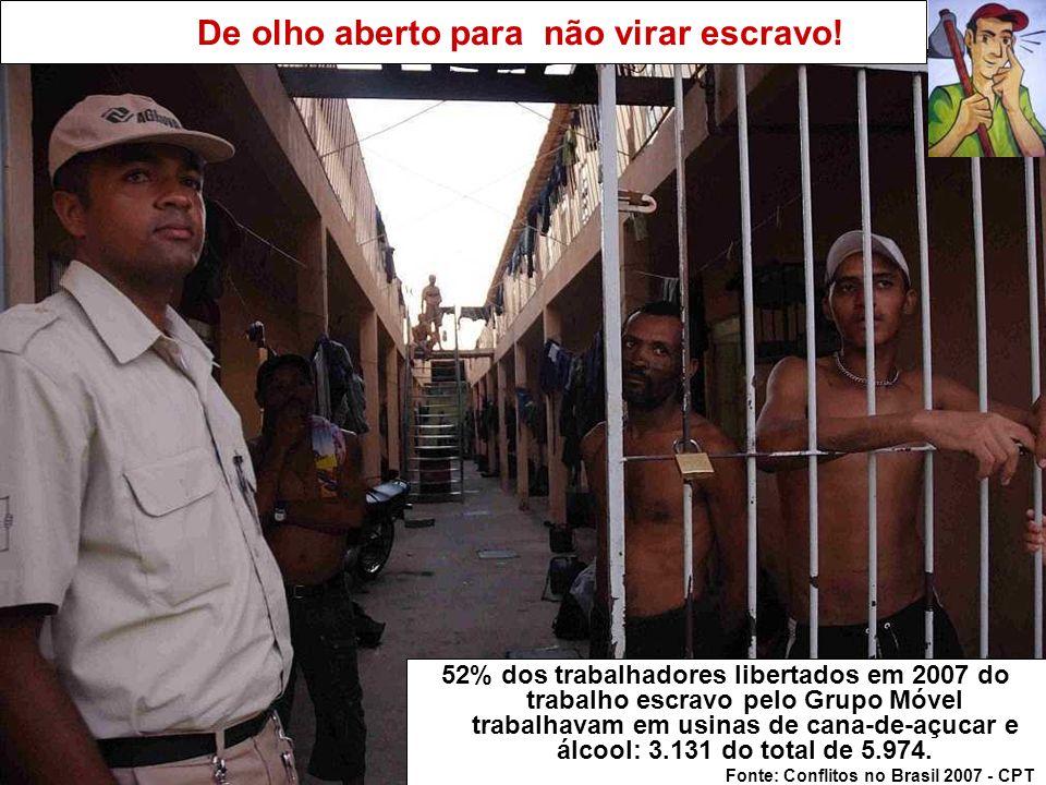 De olho aberto para não virar escravo! 52% dos trabalhadores libertados em 2007 do trabalho escravo pelo Grupo Móvel trabalhavam em usinas de cana-de-
