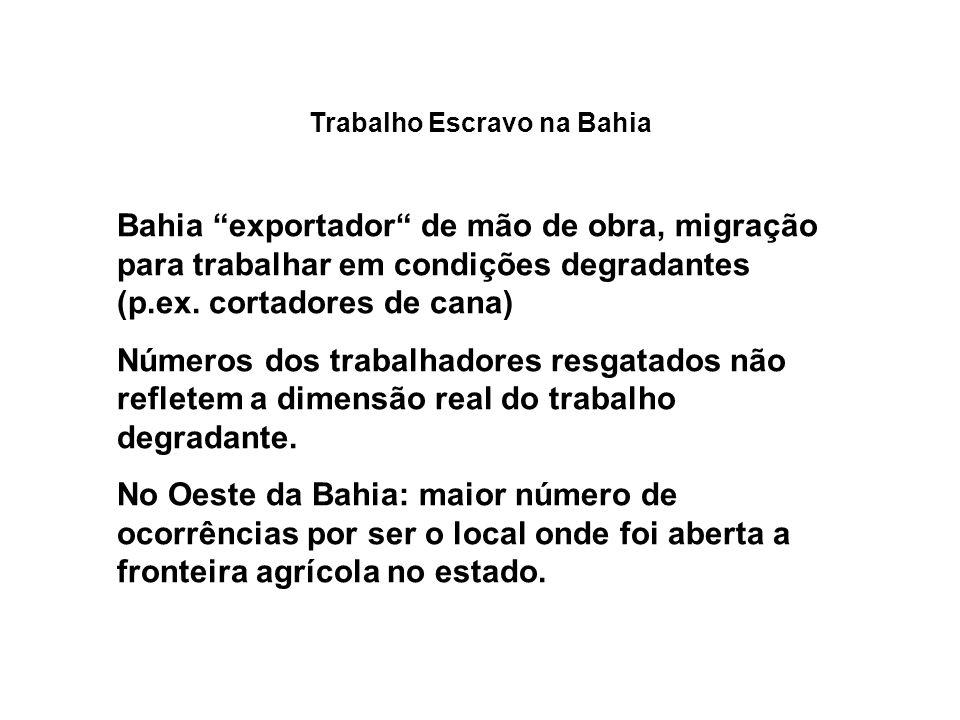 Trabalho Escravo na Bahia Bahia exportador de mão de obra, migração para trabalhar em condições degradantes (p.ex. cortadores de cana) Números dos tra