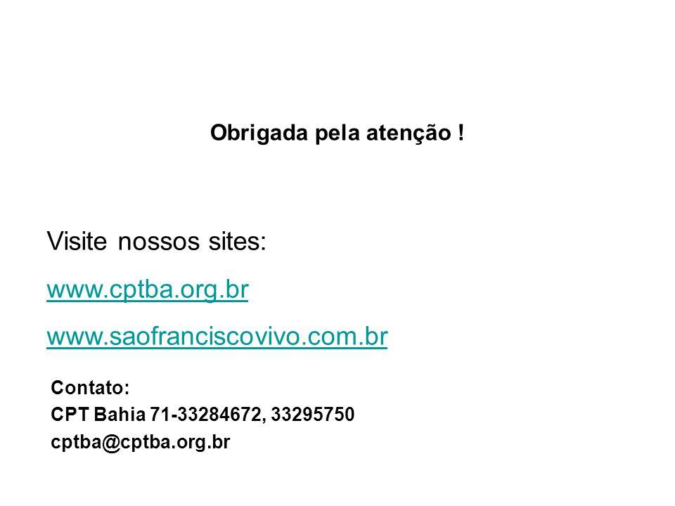 Contato: CPT Bahia 71-33284672, 33295750 cptba@cptba.org.br Visite nossos sites: www.cptba.org.br www.saofranciscovivo.com.br Obrigada pela atenção !