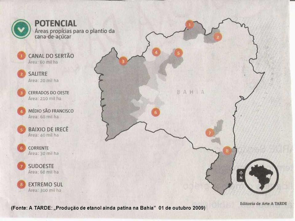 Projeto de Irrigação Baixio de Irecê (PPP) transposição baiana maior projeto de irrigação em construção no País, área de 59 mil hectares, captação 61,3 m3/s de água no Rio São Francisco objetivos: além de fruticultura, é produção de agroenergia (cana de açúcar para etanol e oleoginosas para diesel).