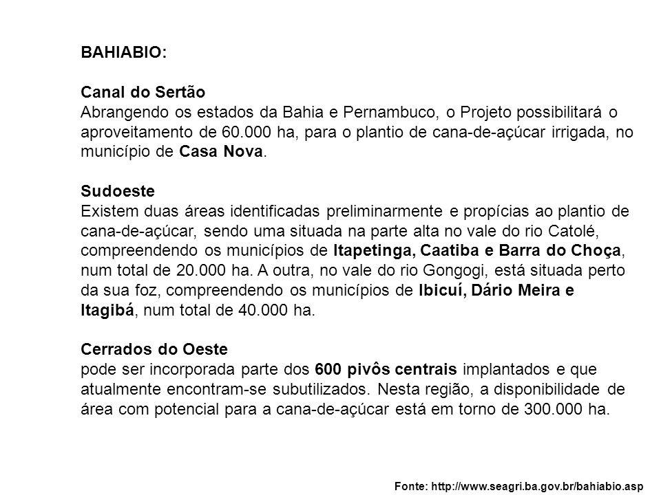 BAHIABIO: Canal do Sertão Abrangendo os estados da Bahia e Pernambuco, o Projeto possibilitará o aproveitamento de 60.000 ha, para o plantio de cana-d