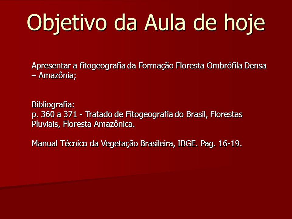 Objetivo da Aula de hoje Apresentar a fitogeografia da Formação Floresta Ombrófila Densa – Amazônia; Bibliografia: p. 360 a 371 - Tratado de Fitogeogr