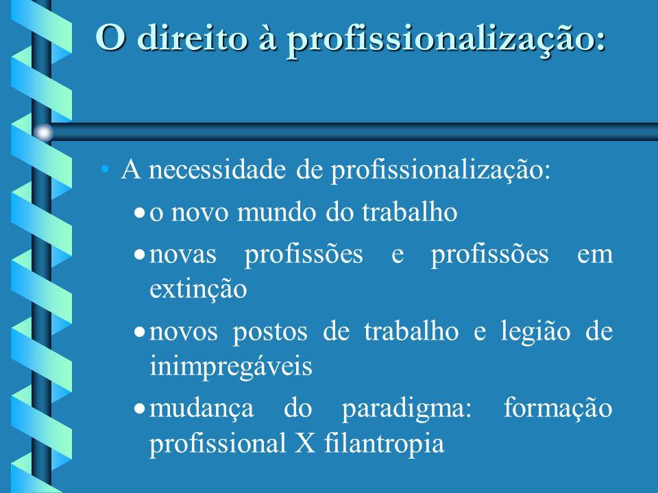 O direito à profissionalização: O direito à profissionalização: A necessidade de profissionalização: o novo mundo do trabalho novas profissões e profissões em extinção novos postos de trabalho e legião de inimpregáveis mudança do paradigma: formação profissional X filantropia