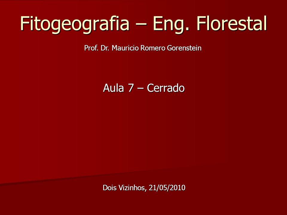 Fitogeografia – Eng. Florestal Aula 7 – Cerrado Dois Vizinhos, 21/05/2010 Prof. Dr. Mauricio Romero Gorenstein