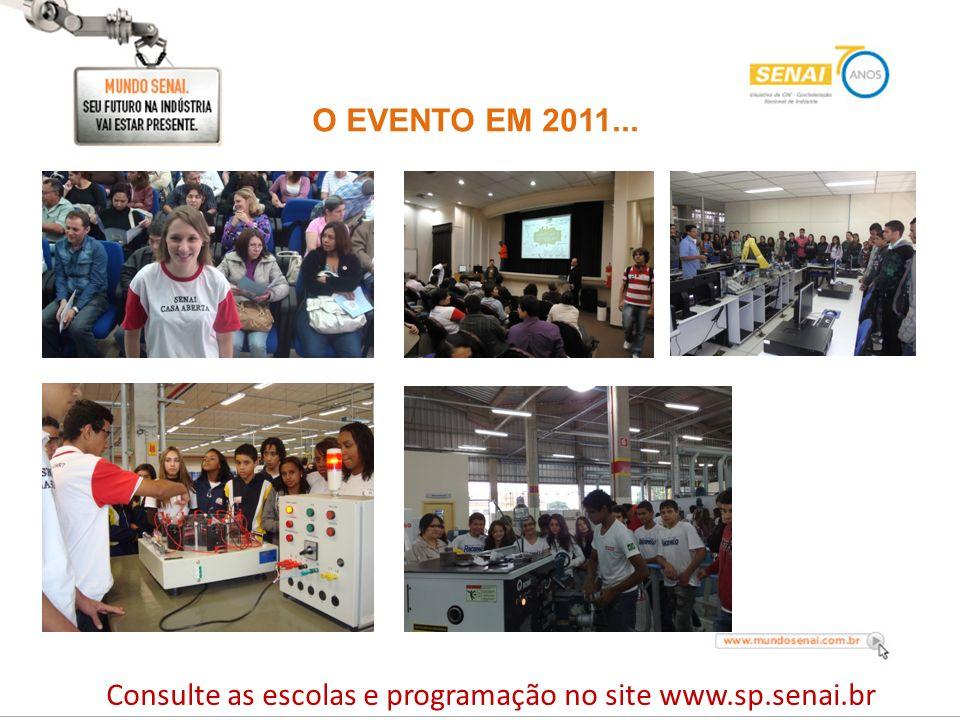 O EVENTO EM 2011... Consulte as escolas e programação no site www.sp.senai.br