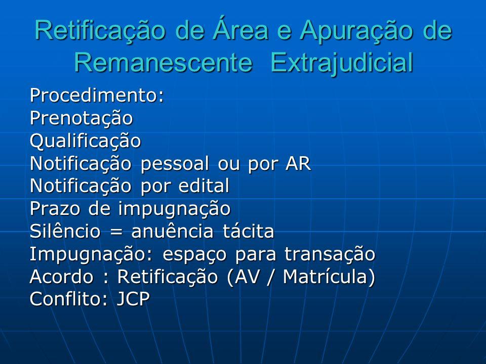 Retificação de Área e Apuração de Remanescente Extrajudicial Procedimento:PrenotaçãoQualificação Notificação pessoal ou por AR Notificação por edital