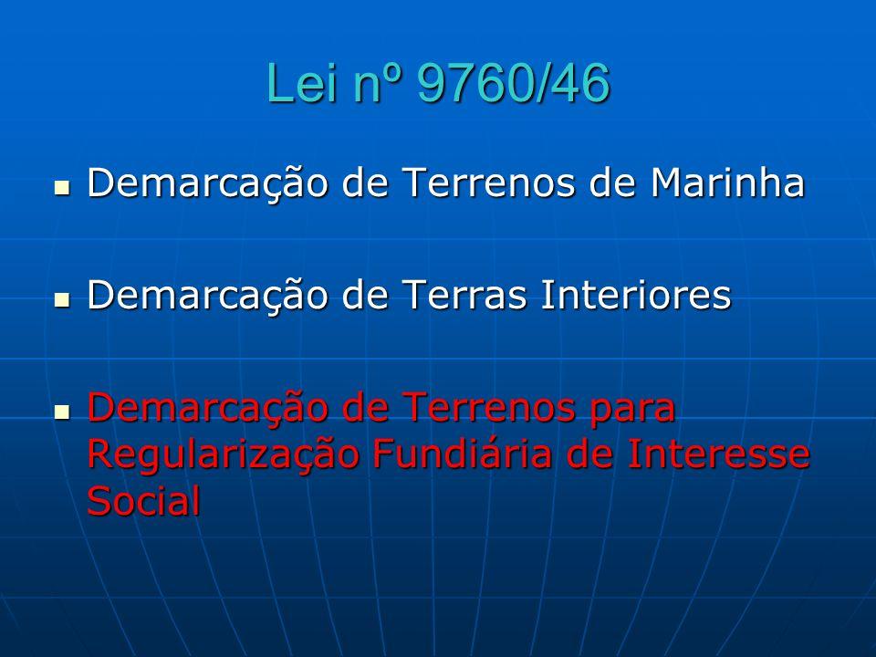 Lei nº 9760/46 Demarcação de Terrenos de Marinha Demarcação de Terrenos de Marinha Demarcação de Terras Interiores Demarcação de Terras Interiores Dem