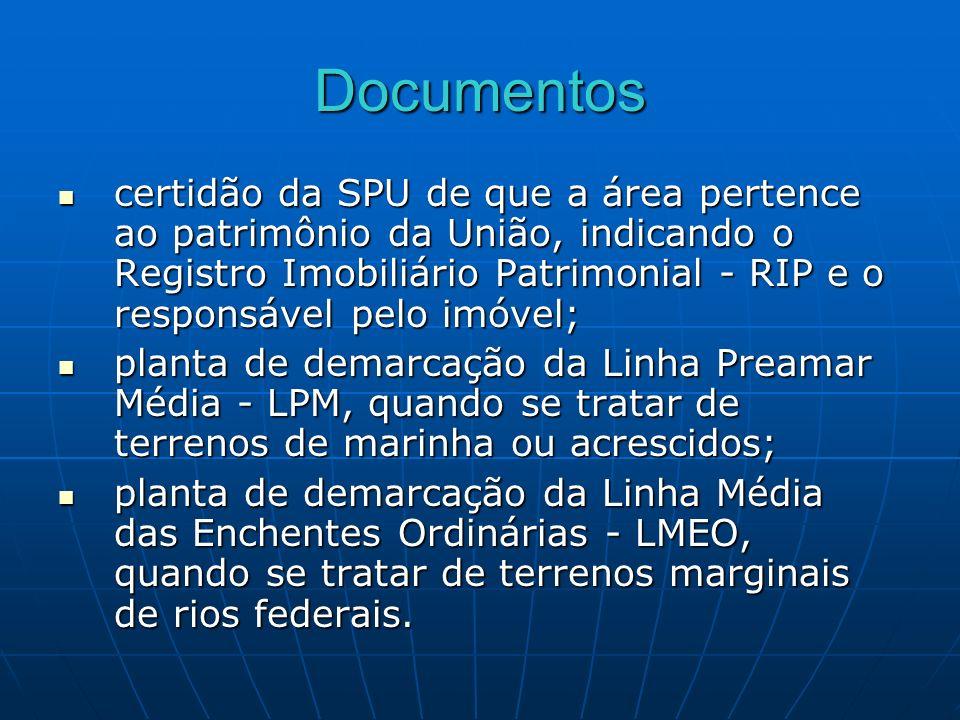 Documentos certidão da SPU de que a área pertence ao patrimônio da União, indicando o Registro Imobiliário Patrimonial - RIP e o responsável pelo imóv