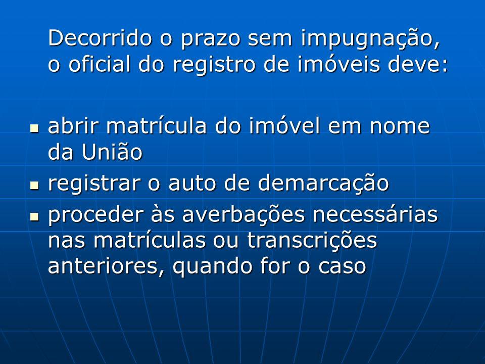 Decorrido o prazo sem impugnação, o oficial do registro de imóveis deve: abrir matrícula do imóvel em nome da União abrir matrícula do imóvel em nome