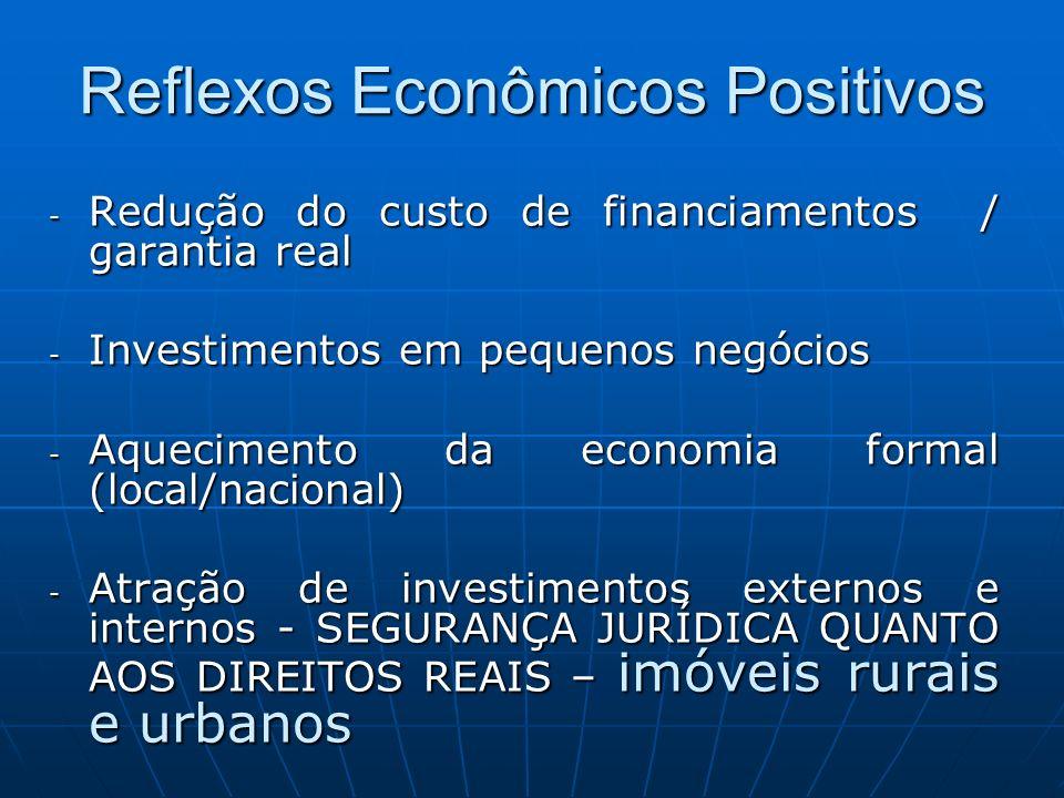 Reflexos Econômicos Positivos - Redução do custo de financiamentos / garantia real - Investimentos em pequenos negócios - Aquecimento da economia form