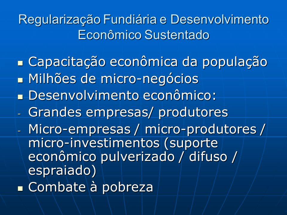 Regularização Fundiária e Desenvolvimento Econômico Sustentado Capacitação econômica da população Capacitação econômica da população Milhões de micro-