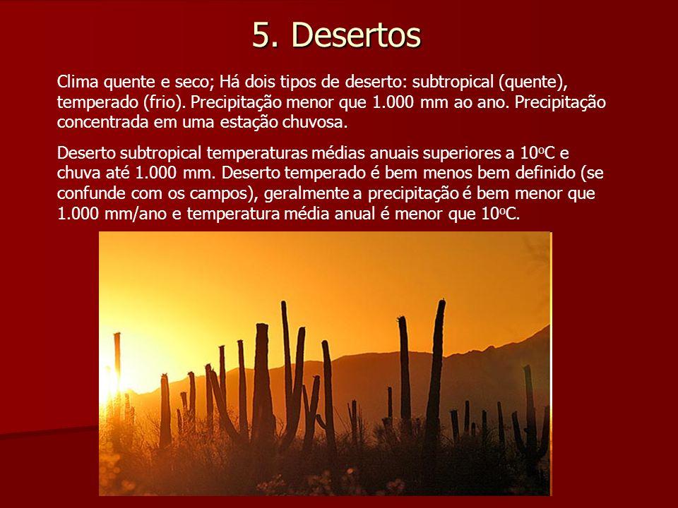 5. Desertos Clima quente e seco; Há dois tipos de deserto: subtropical (quente), temperado (frio). Precipitação menor que 1.000 mm ao ano. Precipitaçã