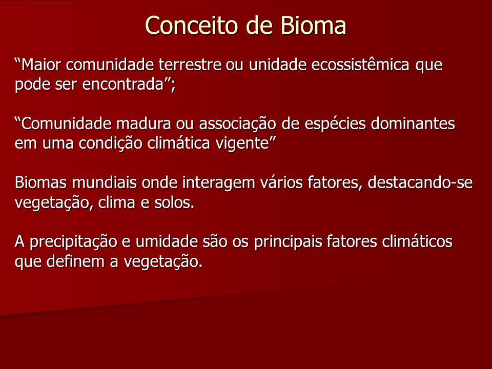 Conceito de Bioma Maior comunidade terrestre ou unidade ecossistêmica que pode ser encontrada; Comunidade madura ou associação de espécies dominantes