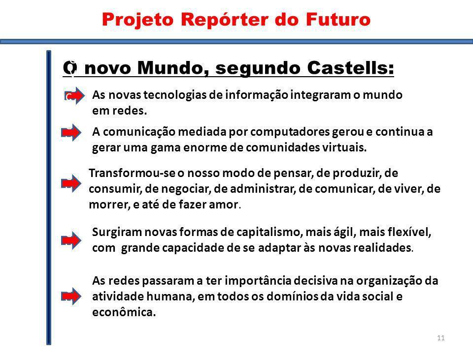 Mundo Novo II O novo Mundo, segundo Castells: As novas tecnologias de informação integraram o mundo em redes. CVCVCVCVCVCV Surgiram novas formas de ca
