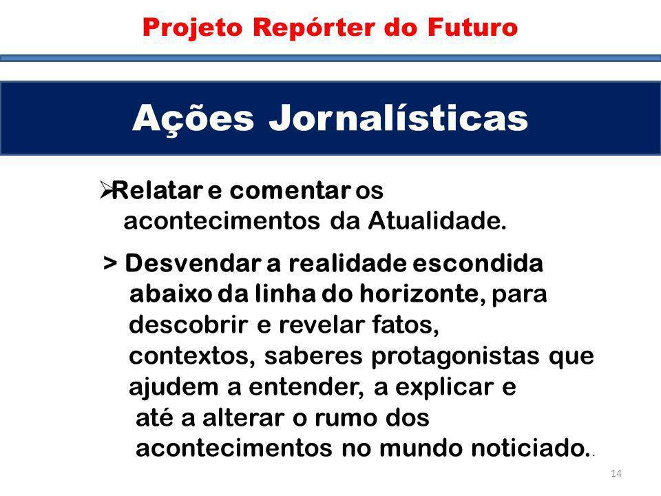 Ações Jornalísticas Projeto Repórter do Futuro Ações Jornalísticas Relatar e comentar os acontecimentos da Atualidade. > Desvendar a realidade escondi