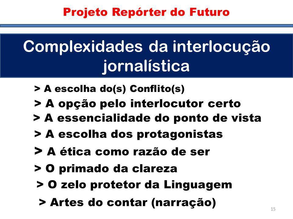 Complexidades Projeto Repórter do Futuro Complexidades da interlocução jornalística > A opção pelo interlocutor certo > A escolha do(s) Conflito(s) >
