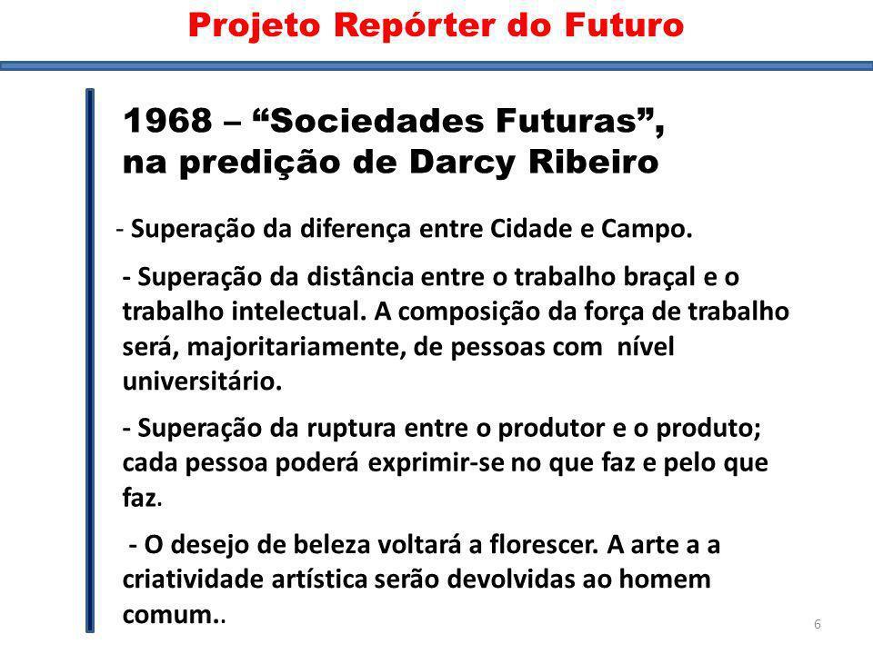 Sociedades futuras 1968 – Sociedades Futuras, na predição de Darcy Ribeiro - Superação da diferença entre Cidade e Campo. - Superação da distância ent