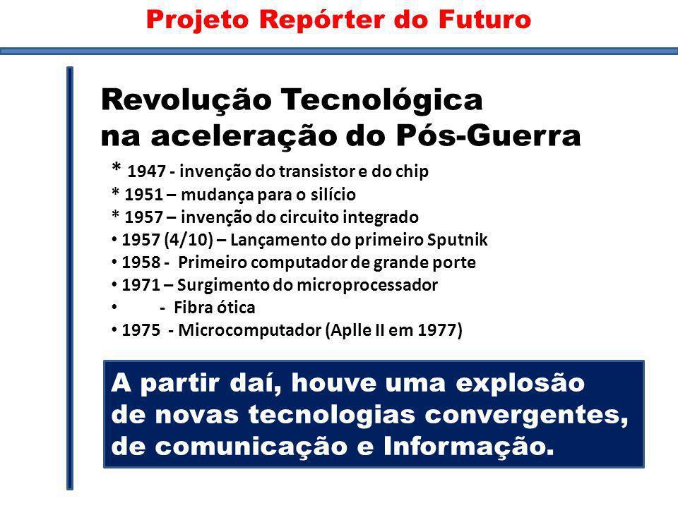 Inventos * 1947 - invenção do transistor e do chip * 1951 – mudança para o silício * 1957 – invenção do circuito integrado 1957 (4/10) – Lançamento do