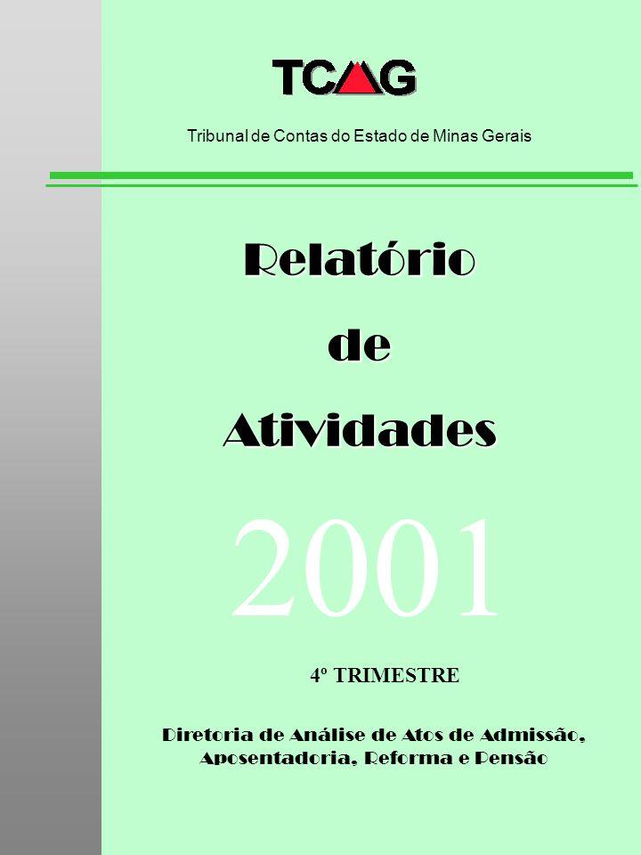 Diretoria de Análise de Atos de Admissão, Aposentadoria, Reforma e Pensão RelatóriodeAtividades Tribunal de Contas do Estado de Minas Gerais 2001 4º T
