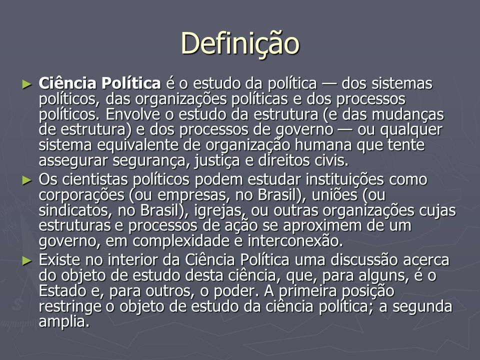 Definição Ciência Política é o estudo da política dos sistemas políticos, das organizações políticas e dos processos políticos. Envolve o estudo da es