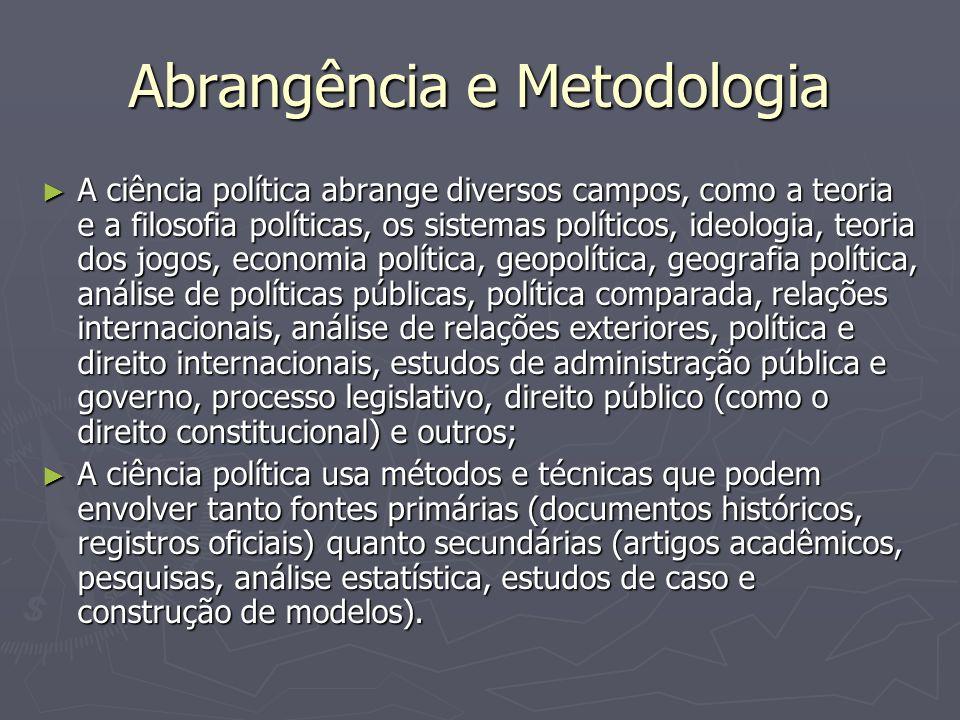 Abrangência e Metodologia A ciência política abrange diversos campos, como a teoria e a filosofia políticas, os sistemas políticos, ideologia, teoria
