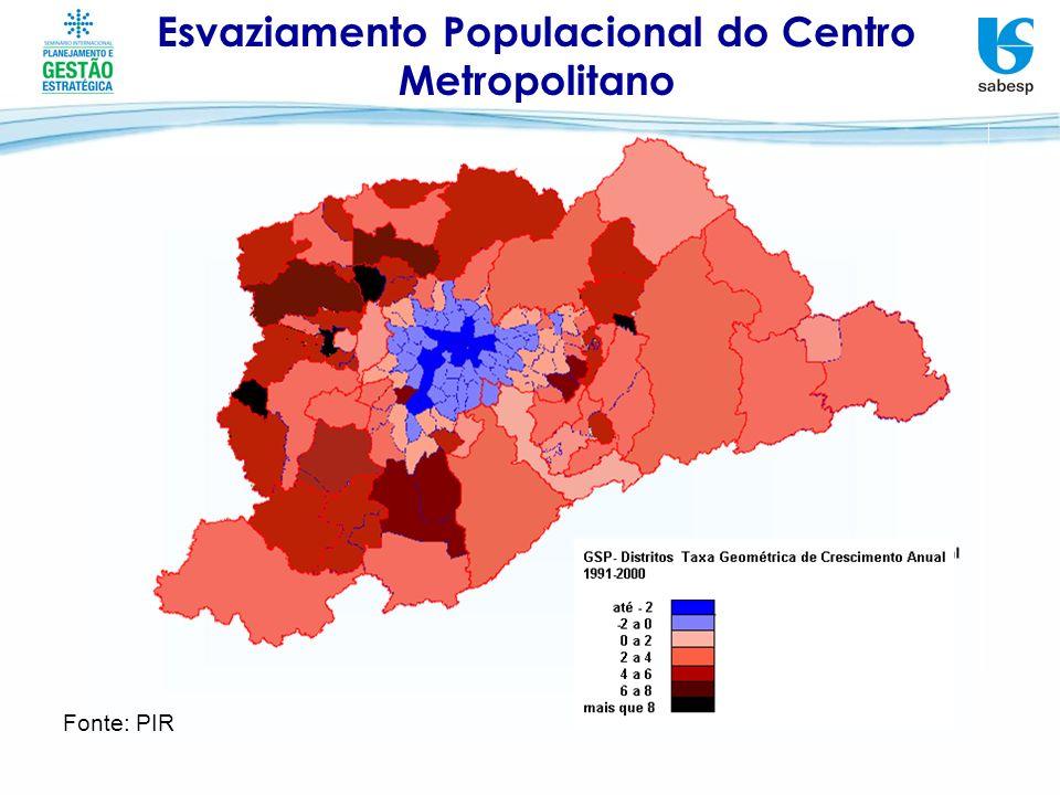 Esvaziamento Populacional do Centro Metropolitano Fonte: PIR