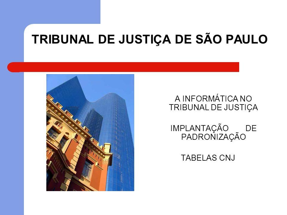 TRIBUNAL DE JUSTIÇA DE SÃO PAULO A INFORMÁTICA NO TRIBUNAL DE JUSTIÇA IMPLANTAÇÃO DE PADRONIZAÇÃO TABELAS CNJ