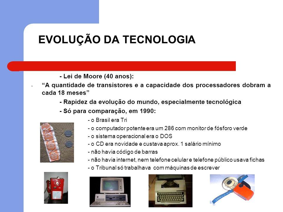 EVOLUÇÃO DA TECNOLOGIA - Atualmente: - o Brasil é penta - o computador potente é um Intel Duo Core (02 proc.) com LCD - o sistema operacional mais utilizado é o Windows - os celulares estão cada vez mais inteligentes - o Blue-Ray está chegando e decretando o fim do DVD - música digital (MP3, Ipod, etc.) - a internet é imprescindível (até para o Tribunal) - processo eletrônico (lei nº 11.419/06)